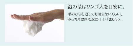 泡の量はリンゴ大を目安に。手のひらを返しても落ちないくらい、 みっちり濃厚な泡に仕上げましょう。