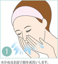 1.水かぬるま湯で顔を素洗いします。