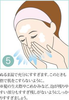 5.ぬるま湯で充分にすすぎます。このときも指で肌をこすらないように。 ※髪の生え際やこめかみなど、泡が残りやすい部分もすすぎ残しがないようにしっかりすすぎましょう。